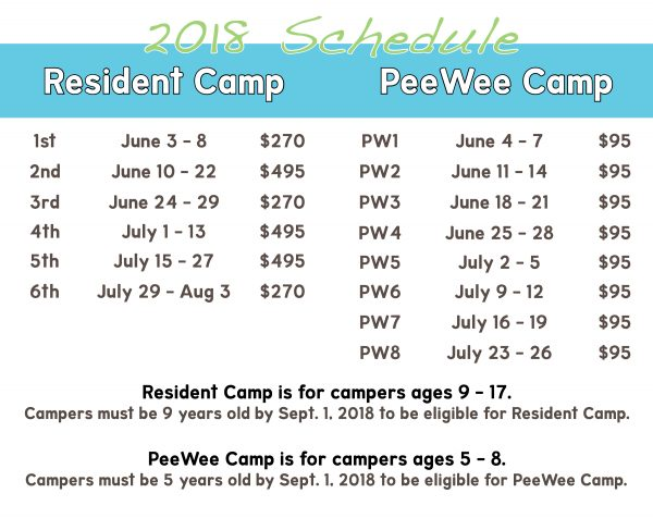 2017 Camp Schedule